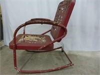1950's Metal Patio Chairs 1-Straight, 1-Rocker