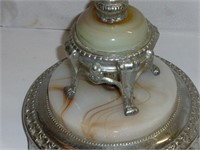 Silver and Marble Base Tri-Light w/2 Switches