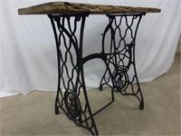 Live Edge Table w/Treadle Sewing Machine Base