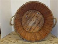 Wooden Bucket w/Rope Handle & Trim