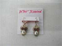 Betsey Johnson Pearl Owl Drop Earring