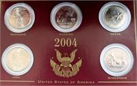 2004 State Quarters, MI, FL, TX, IA, WI (picture 2 -close-up)