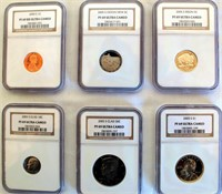 6- 2005 PF69 Cameo Coins (2 Nickels, 1 Penny, 1 Dime, 1 Half Dollar, 1 Dollar)