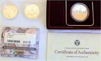 1983 LA Olympic Discus Thower Liberty Dollar; 2- 1988 Liberty Olympiad Dollars (one w/case)