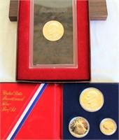 US 1976 Bicentennial Silver Proof Set (3 coins); 1- US Eisenhower Proof Dollar