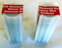 Roll of 2004 Westward Nickels - Denver Mint Keelboat; Roll of 2005 Westward Nickels - Denver Mint American Buffalo