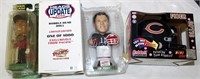 Tiger Woods & Drew Bledsoe Bobble Heads; Light-up Chicago Mini FB Helmet