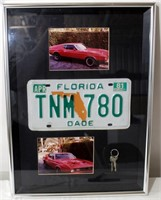 Framed Ford Mustang Pics, License Plate & Keys
