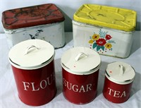 Metal Bread Box's, Canister Set
