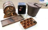 Misc Collectibles (keg, bank, churn, cutter, pan)