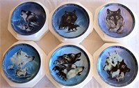 """Plate Collection """"Spirit of the Wilderness"""" by Eddie LePage (Blue Botherhood; Ebony Chief; Light Grey Lords; Arctic White Companions; Dawns Salute; Pride of the Pack)"""