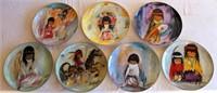"Plate Collection ""Children Series"" by De Grazia (Bell of Hope; The Flower Girl; Prima Indian Drummer Boy; A Little Prayer; Marry Little Indian; Blue Boy; Wondering)"