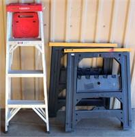 Ladder, 2- Saw Horses