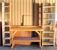 Wood Work Bench w/Side Shelves