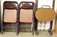 Card Table w/4-Folding Chairs, 3-Oval TV Trays