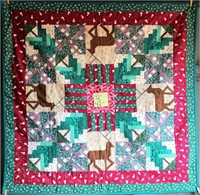 "Small Handmade Quilt, 42""x42"""
