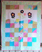 "Small Handmade Quilt, 39""x47"""