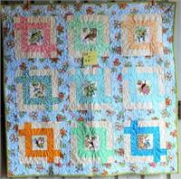"Small Handmade Quilt, 38""x38"""