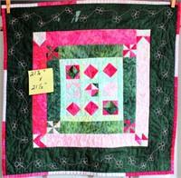 "Small Handmade Quilt, 21""x21"""