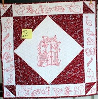 """Small Handmade Quilt w/Embroidery, 28""""x28"""""""