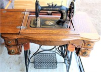 New Home Treadle Sewing Machine w/Cabinet