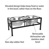 PETMAKER Stainless Steel Elevated Pet Bowls with