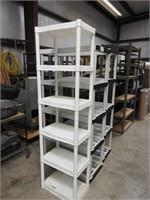 3 plastic shelf units