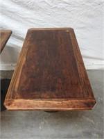 2 wood top bar tables