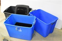 (3) Sterilite Totes and Assorted Lids