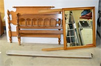 Assorted Bed Frames and Parts, Dresser Mirror