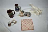 Sandicast Dog, Marble Trivet, Ceramic Racing, etc.