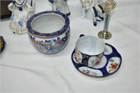 Box of Cobalt Teacups & Saucers, Figurines, etc.