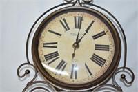"Metal Wall Clock with Pendulum 21"" Tall (Works)"