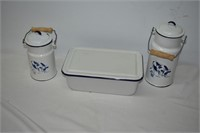 "12"" Enamel Refrigeration Dish & (2) Milk Carriers"