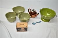 Enamel Colander Copper Teapot, Mixing Bowl Set