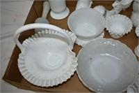 Group of Milk Glass Vases, Bowls, etc.