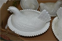 Group of Milk Glass Hen on Nests