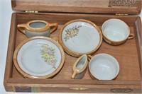 Childs Japan Tea Set in Cigar Box & Tambourine