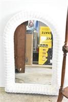 "Corner Shelf 43"" Tall & Wicker Mirror"