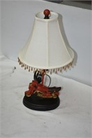 "Wooden Motorcycle Lamp 22"" Tall"