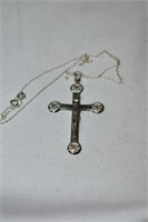 Sterling Silver Necklace & Cross Stamped Sterling