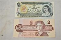 1973 $1 Bill & 1986 $2 Bill