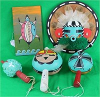 LOT OF 5 INC 3 PAINTED RATTLES, PAINTED TURTLE