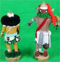 2 CARVED PAINTED  DECORATED ZUNI KACHINAS,