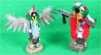 2 CARVED PAINTED  DECORATED KACHINAS, EAGLE
