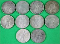 COLL. 10 US PEACE DOLLARS INC TWO 1923, TWO