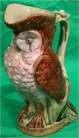 LARGE MAJOLICA OWL FORMED PITCHER, NO