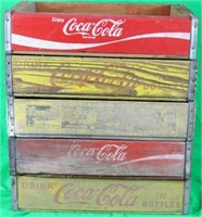 LOT OF 5 WOODEN COKE & PEPSI CRATES, OLD