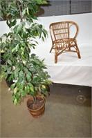 Small Wicker Children's Chair & Artificial Plant