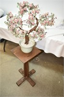 Wood Plant Stand with Artificial Plant